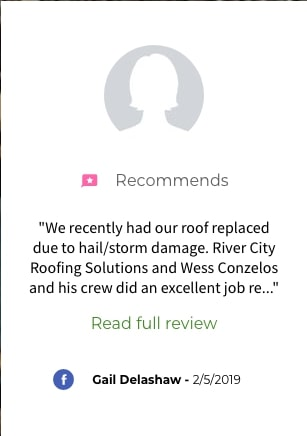 River City Roofing Solutions Roof Replacement Facebook Review