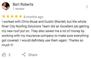 River City Roofing Solutions Google Review