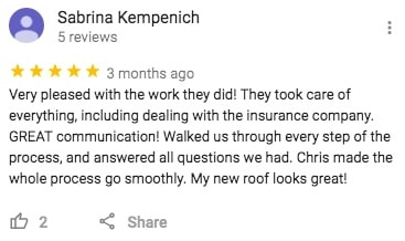 River City Roofing Solutions Roof Replacement Google Review