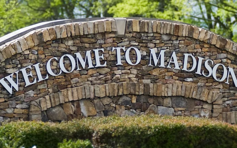 Welcome to Madison AL stone sign.